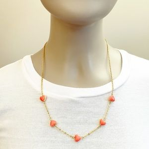 Preppy gold & coral pink heart charm necklace